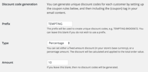 Screenshot of admin page for setting up dynamic discount codes.